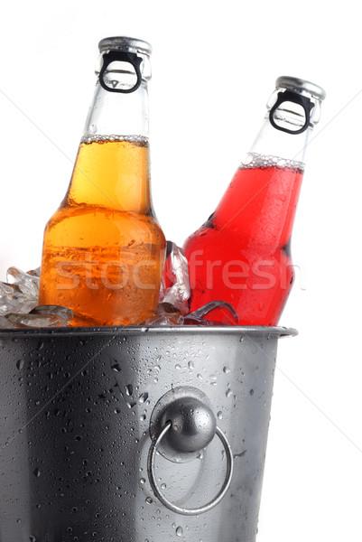 Bira şişeler iki farklı kova buz Stok fotoğraf © taden