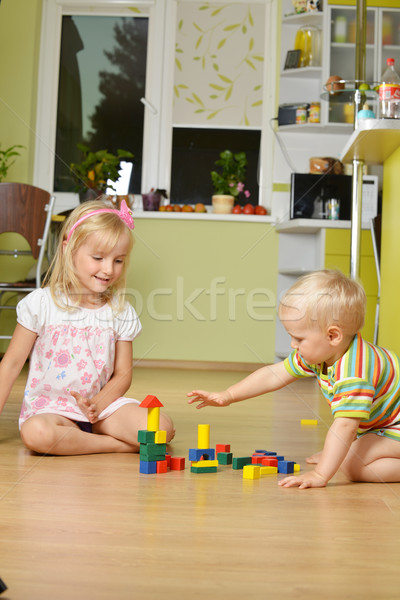 Fiú lánytestvér kicsi lány kéz jókedv Stock fotó © taden