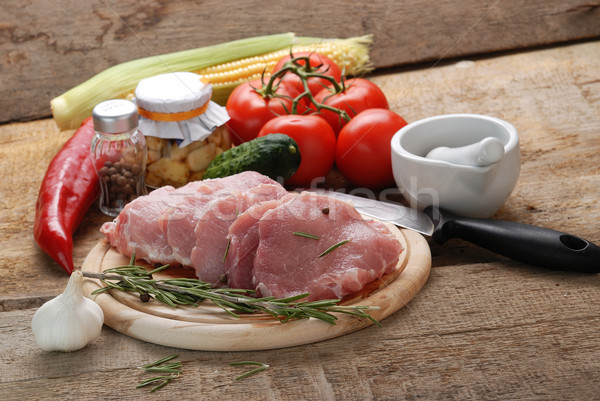 Foto stock: Carne · alecrim · alho · comida