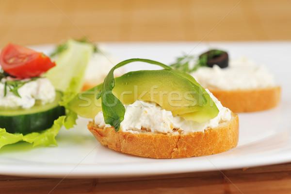 小 サンドイッチ おいしい 野菜 チーズ 皿 ストックフォト © taden