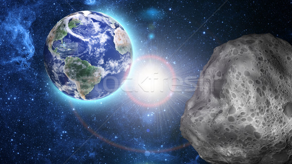 asteroid approaching to earth Stock photo © taden