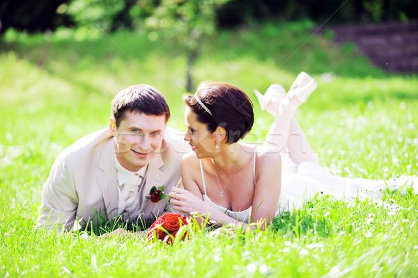 Foto stock: Noiva · noivo · casal · mentir · grama · verde · campo