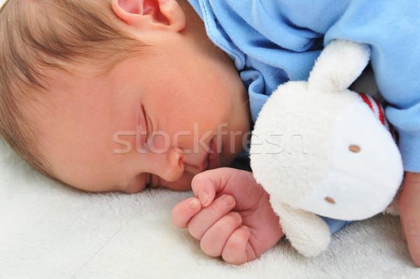 Foto stock: Bebé · juguete · cute · dormir · blanco · manta
