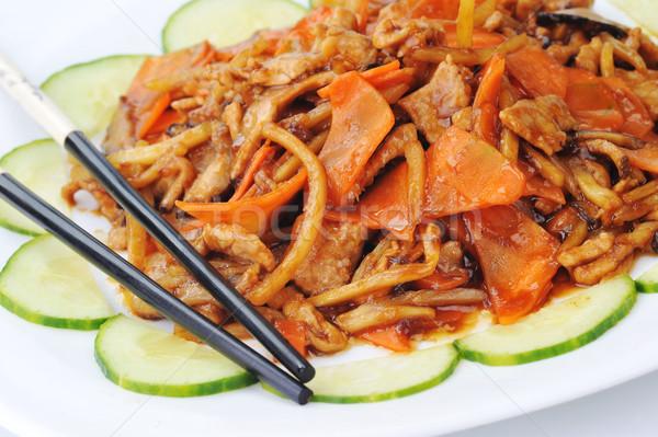 野菜 肉 中国語 木材 ストックフォト © taden