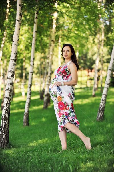 Foto stock: Mujer · hermosa · caminando · hierba · abedul · arboleda