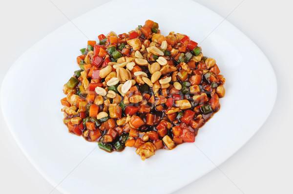 Párolt zöldségek hús földimogyoró tányér kínai Stock fotó © taden