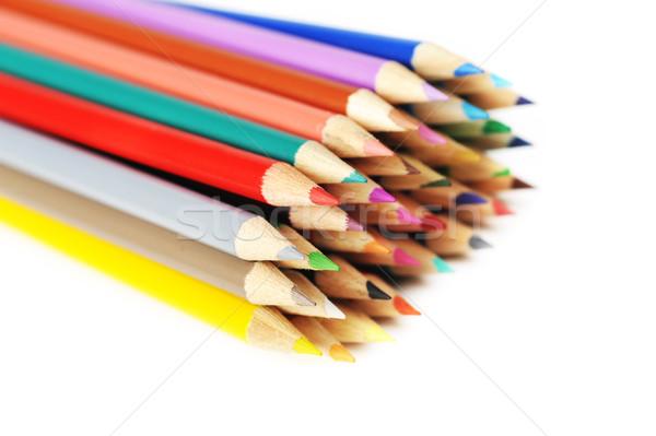 Gekleurd potloden geïsoleerd pen groene Stockfoto © taden