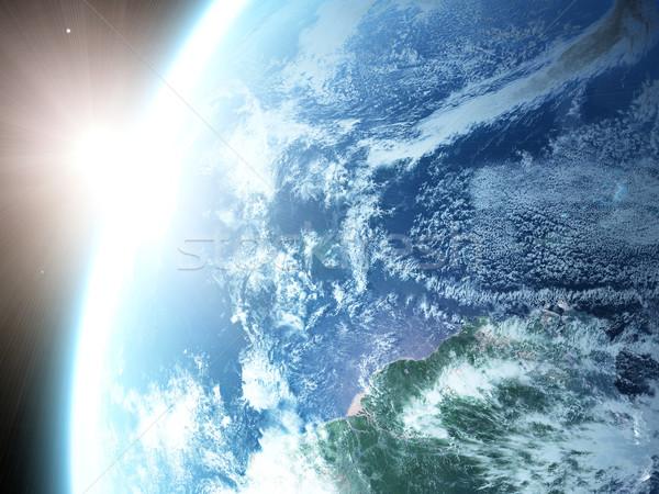Pianeta terra terra sole spazio sunrise mondo Foto d'archivio © taden