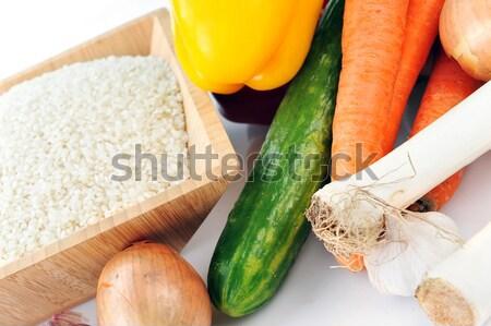ストックフォト: コメ · 野菜 · 白 · 料理 · 伝統的な