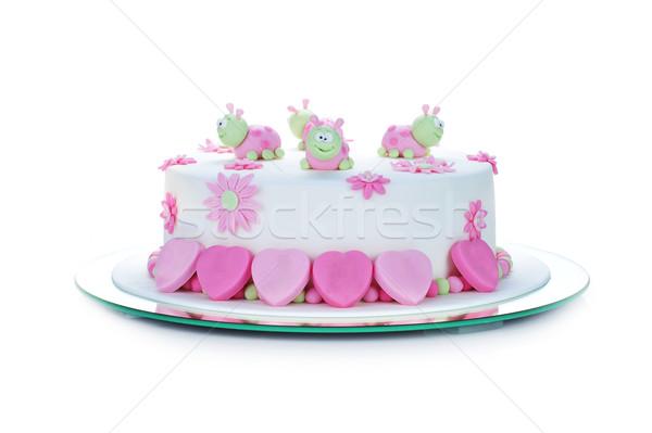 Pastel de cumpleanos blanco torta estilo crema azúcar Foto stock © taden