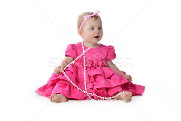 Adorable peu rose robe séance Photo stock © taden
