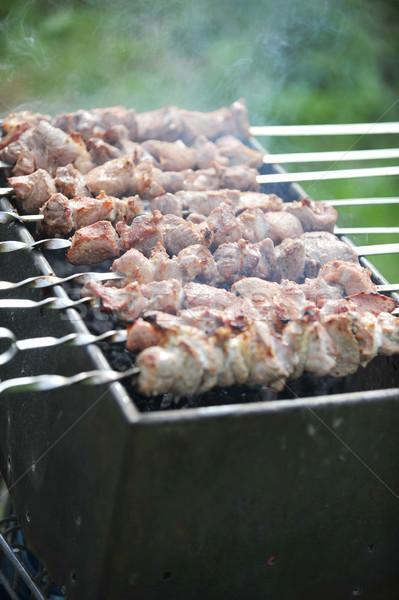 Carne fette preparazione salsa fuoco erba Foto d'archivio © taden