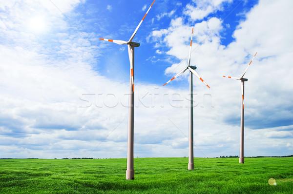風力タービン フィールド フィールド 青空 空 太陽 ストックフォト © taden