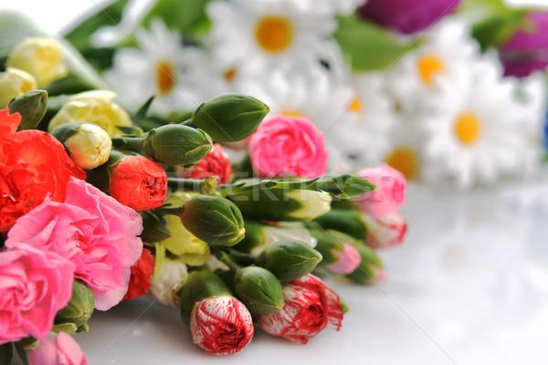 Virágcsokor virágok közelkép színes szegfű egyéb Stock fotó © taden