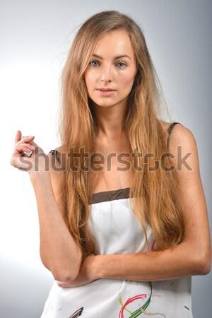Genç kadın portre güzel ayakta beyaz kadın Stok fotoğraf © taden