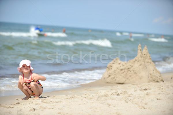 Foto stock: Nina · playa · hermosa · nina · sombrero · relajante
