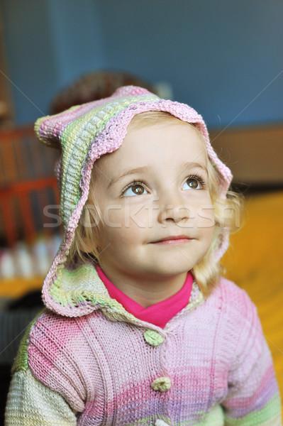 Bambina letto genitori occhi home Foto d'archivio © taden