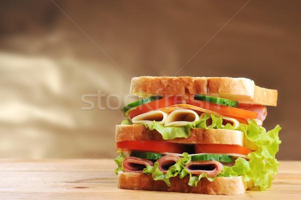 Stock foto: Lecker · Sandwich · frischen · Holztisch · Tabelle · Gruppe