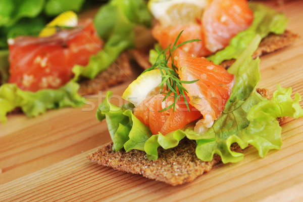salmon   and small loafs Stock photo © taden