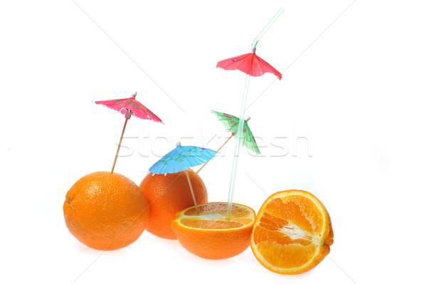 Arance ombrelli isolato bianco natura frutta Foto d'archivio © taden