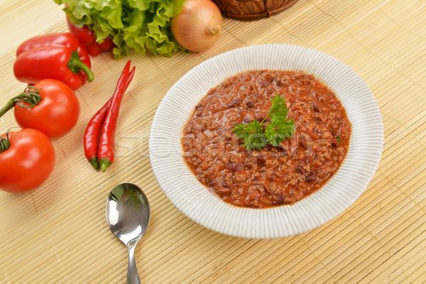 Hot chili kom bonen vlees Stockfoto © taden