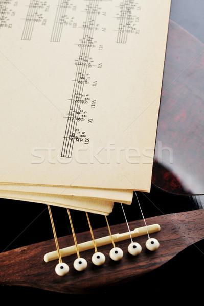Akusztikus gitár kotta gitár koncert fehér játék Stock fotó © taden