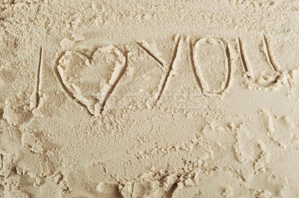Cuore sabbia spiaggia amore mare Foto d'archivio © taden
