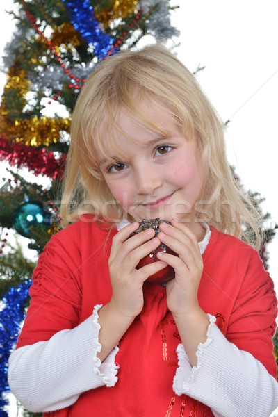 girl near Christmas fir-tree Stock photo © taden