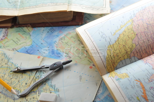 map and pensil Stock photo © taden