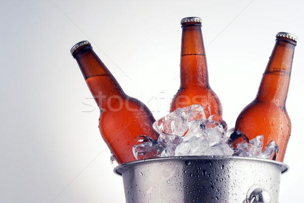 Cerveza botellas tres marrón hielo cubo Foto stock © taden