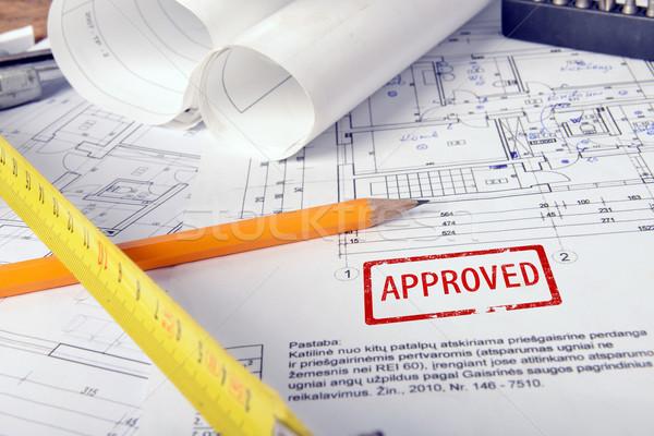 Project tekeningen hoop ontwerp tabel business Stockfoto © taden