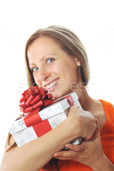 young woman with present Stock photo © taden