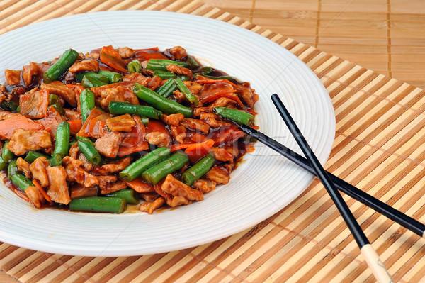 Frango legumes chinês cozinha profundo frango assado Foto stock © taden