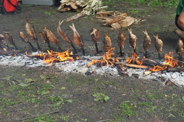 fish fixed on wooden chopsticks Stock photo © taden