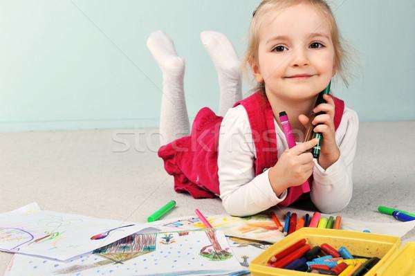 девушки рисунок красивой девочку бумаги лице Сток-фото © taden