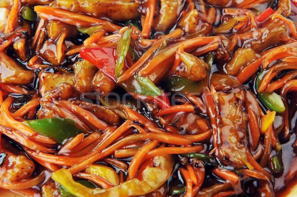 Tavuk kırmızı sos Çin mutfak derin Stok fotoğraf © taden