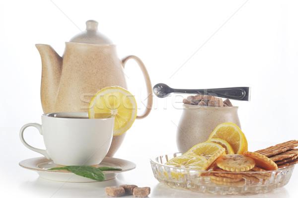 カップ 茶 ティーポット レモン ペストリー ホーム ストックフォト © taden
