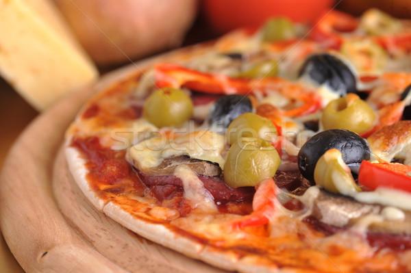 Taze pizza pepperoni zeytin Stok fotoğraf © taden