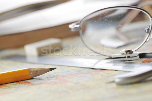 地図 眼鏡 古い アトラス 図書 ストックフォト © taden