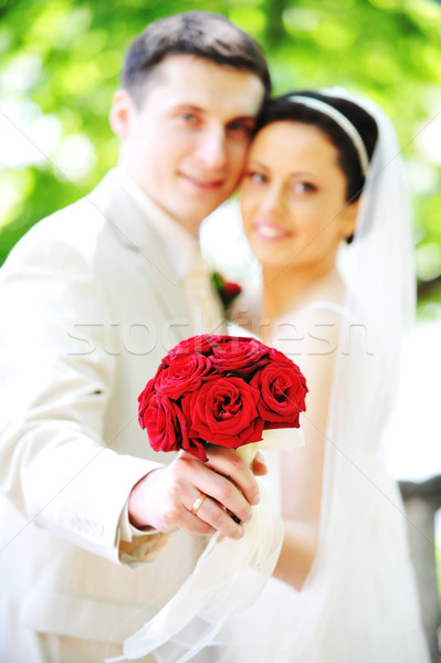 Novio novia vestido blanco verde árboles boda Foto stock © taden