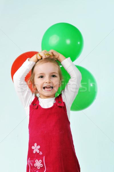 Lány léggömbök gyönyörű kislány játék arc Stock fotó © taden