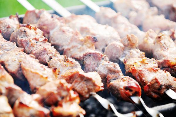 Et dilimleri hazırlık sos yangın duman Stok fotoğraf © taden