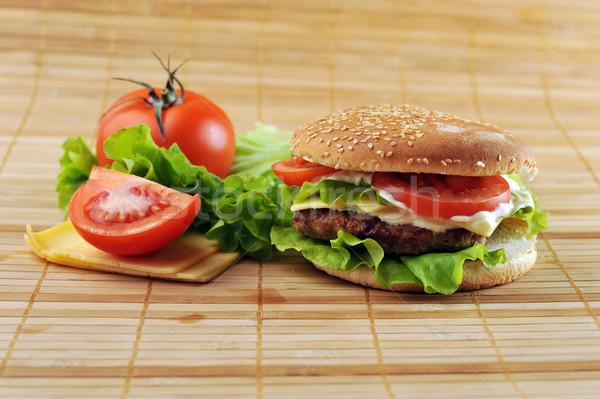 Hamburguesa hortalizas bambú servilleta mesa grupo Foto stock © taden
