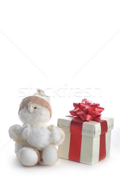 snowman and giftbox on white  Stock photo © taden