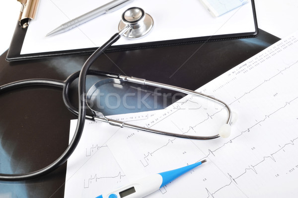 stethoscope on  printout Stock photo © taden