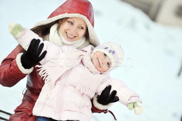 Madre hija jóvenes invierno día mujeres Foto stock © taden
