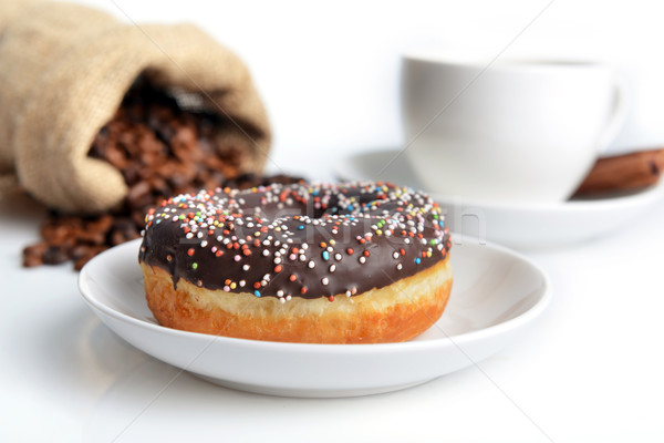 cup of coffee and sweet donut Stock photo © taden