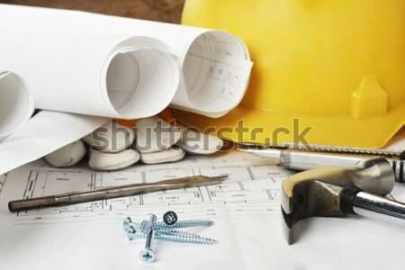 çelik dizayn proje çizimler mimari belge Stok fotoğraf © taden