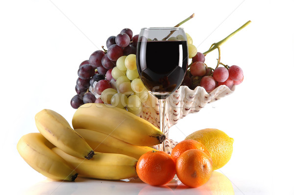 different fruits and glass of wine Stock photo © taden
