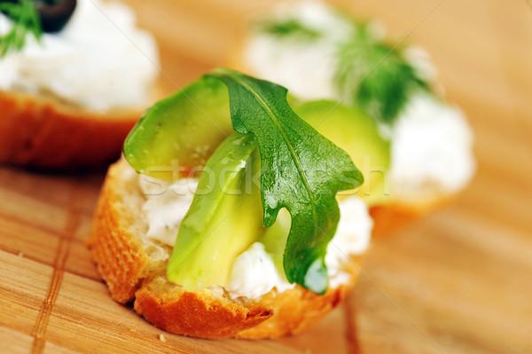 Sandviç tost ekmek lezzetli avokado ıspanak Stok fotoğraf © taden